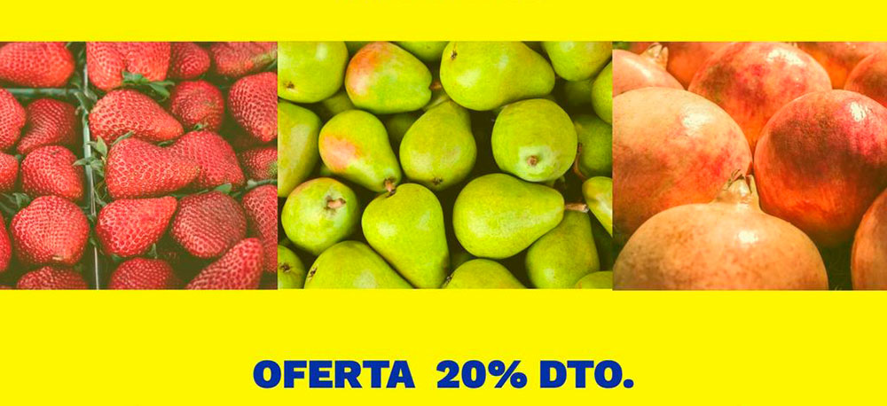 Cartel de oferta de frutas